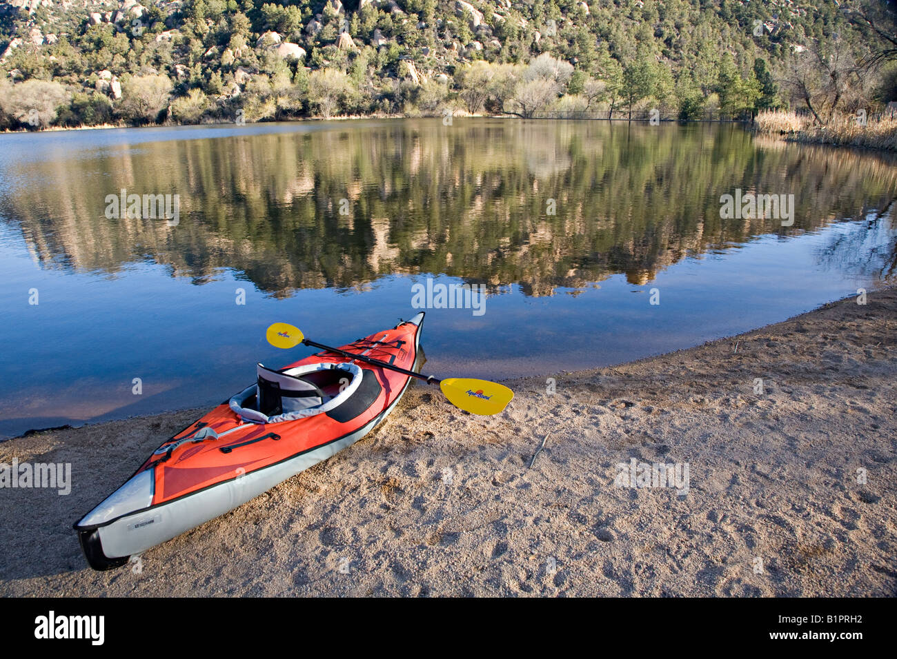 Granite Basin Lake Az.Kayak Rests Along Granite Basin Lake Within The Granite Mountain