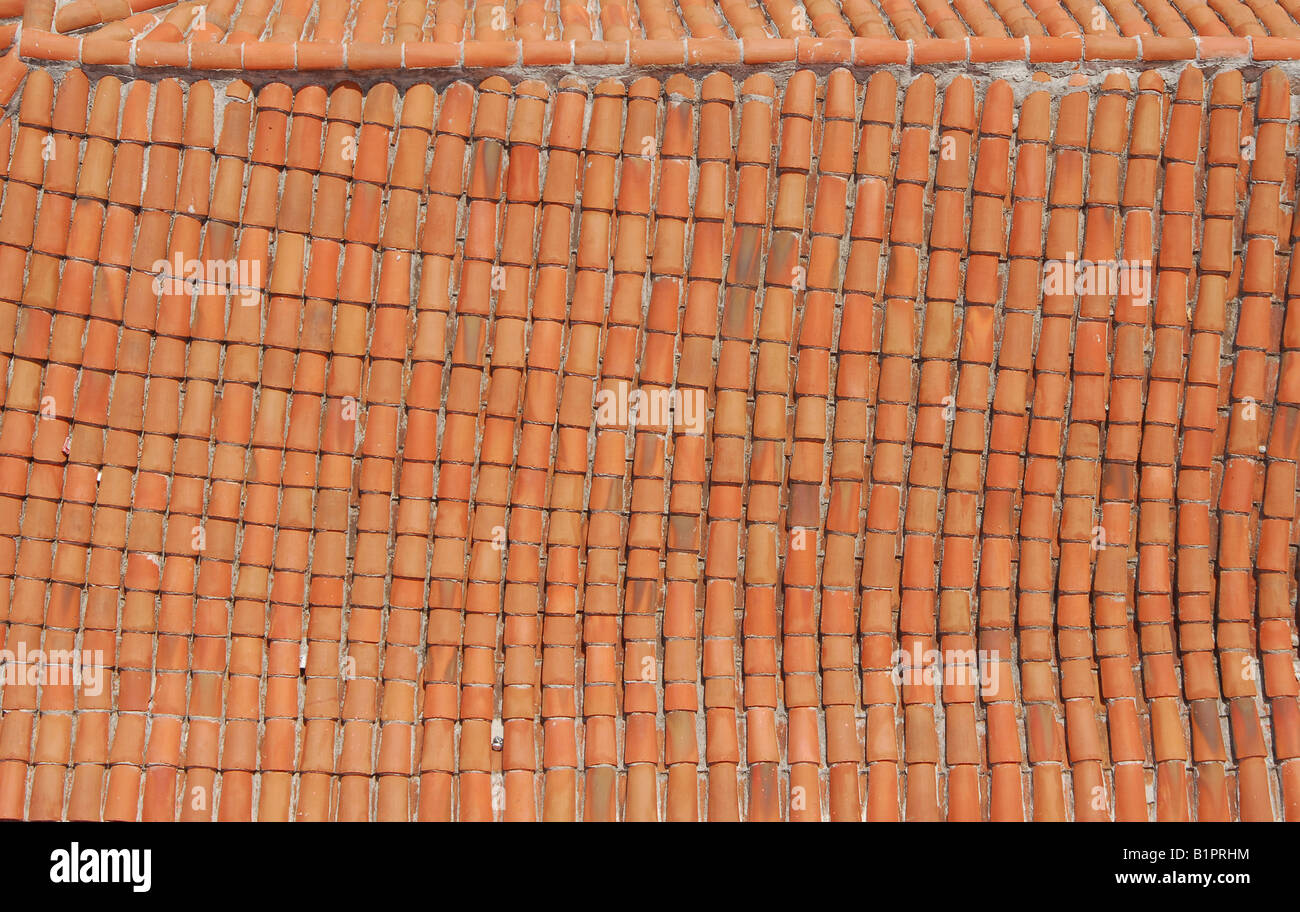bowed terracotta roof tiles in Havana Cuba - Stock Image