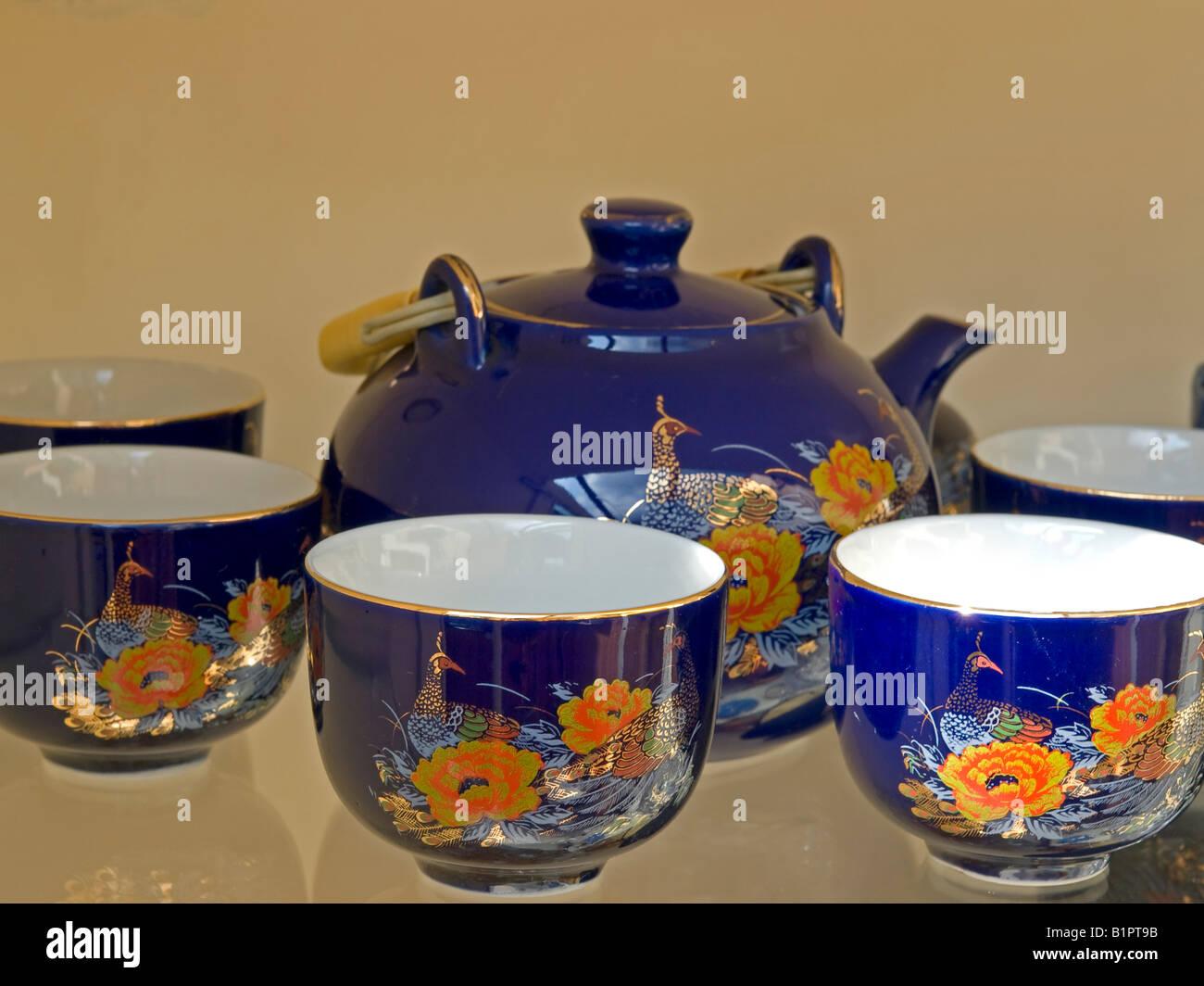 floral design blue tea service - Stock Image