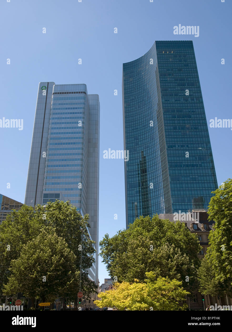 storefront of bank office tower of Dresdner Bank and Skyper in Frankfurt am Main Hesse Germany Stock Photo