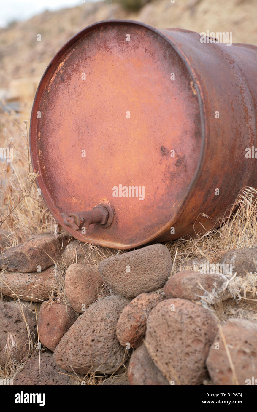 Abandoned 55 Gallon Drum with Spigot probably for Gas Oil or