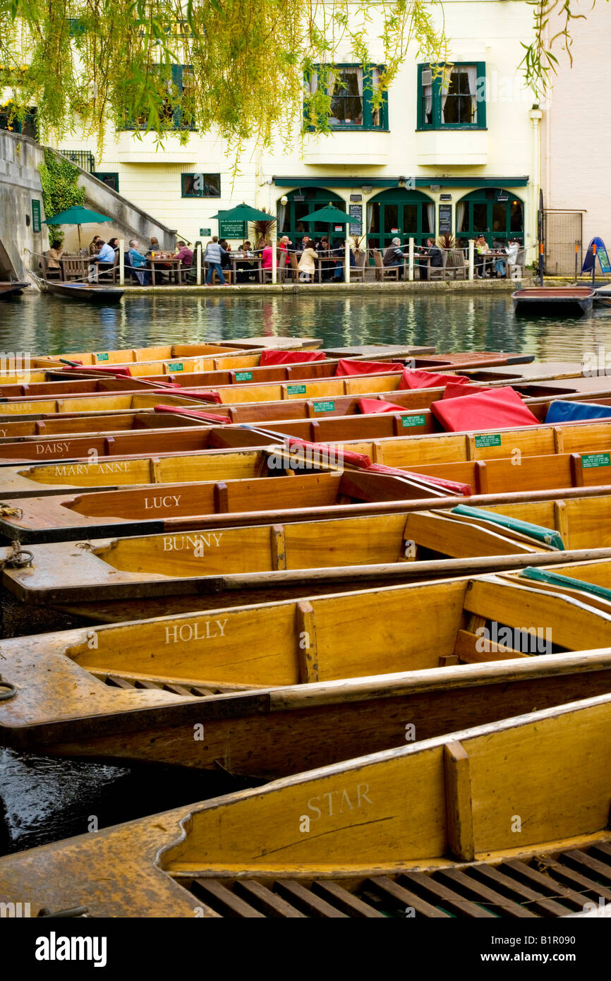 Punts moored or tied up in a line, row,  with the Anchor pub in the background on the River Cam, Cambridge, England, - Stock Image