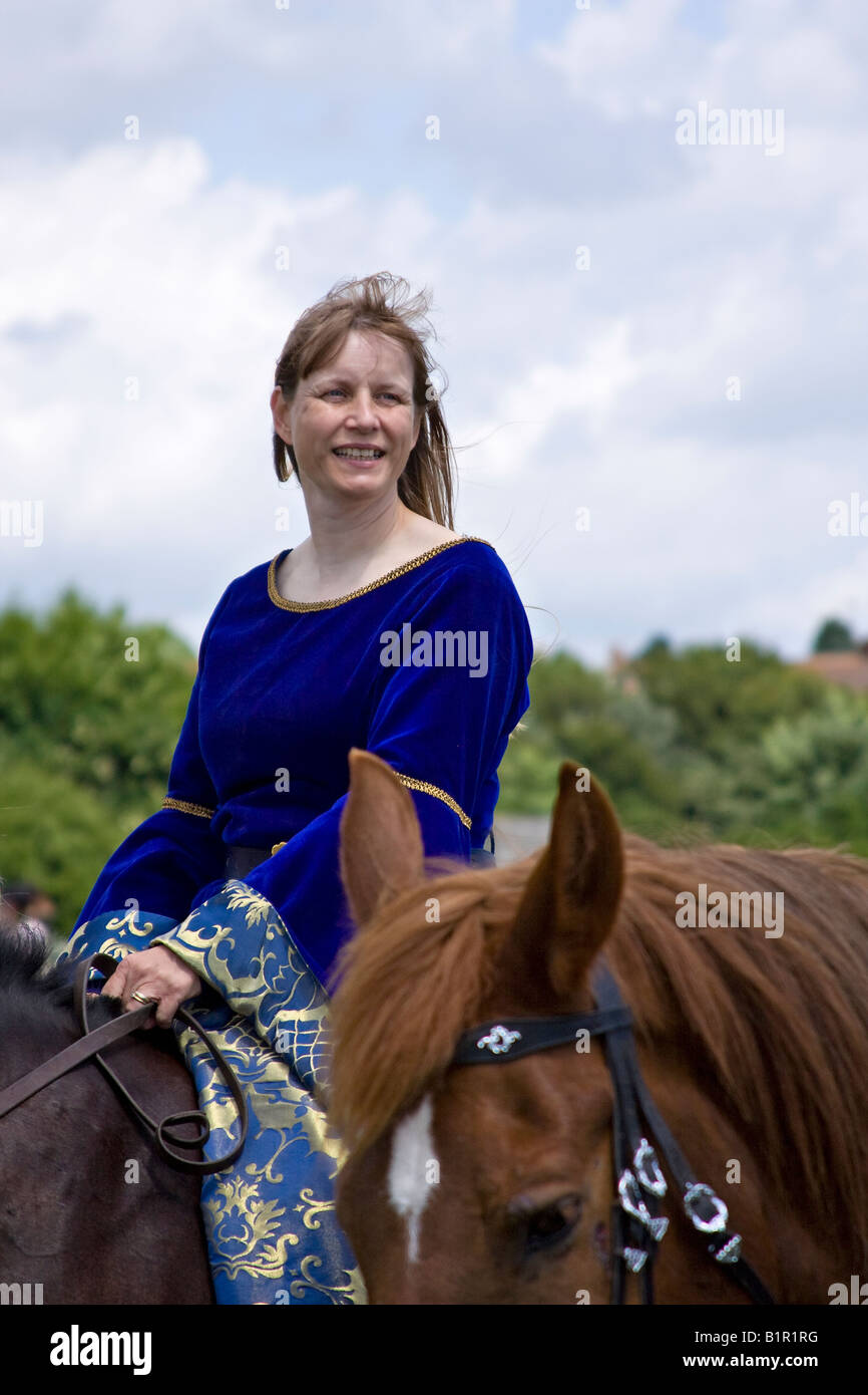 Lady In Medieval Costume Riding A Horse Sussex England Stock Photo Alamy