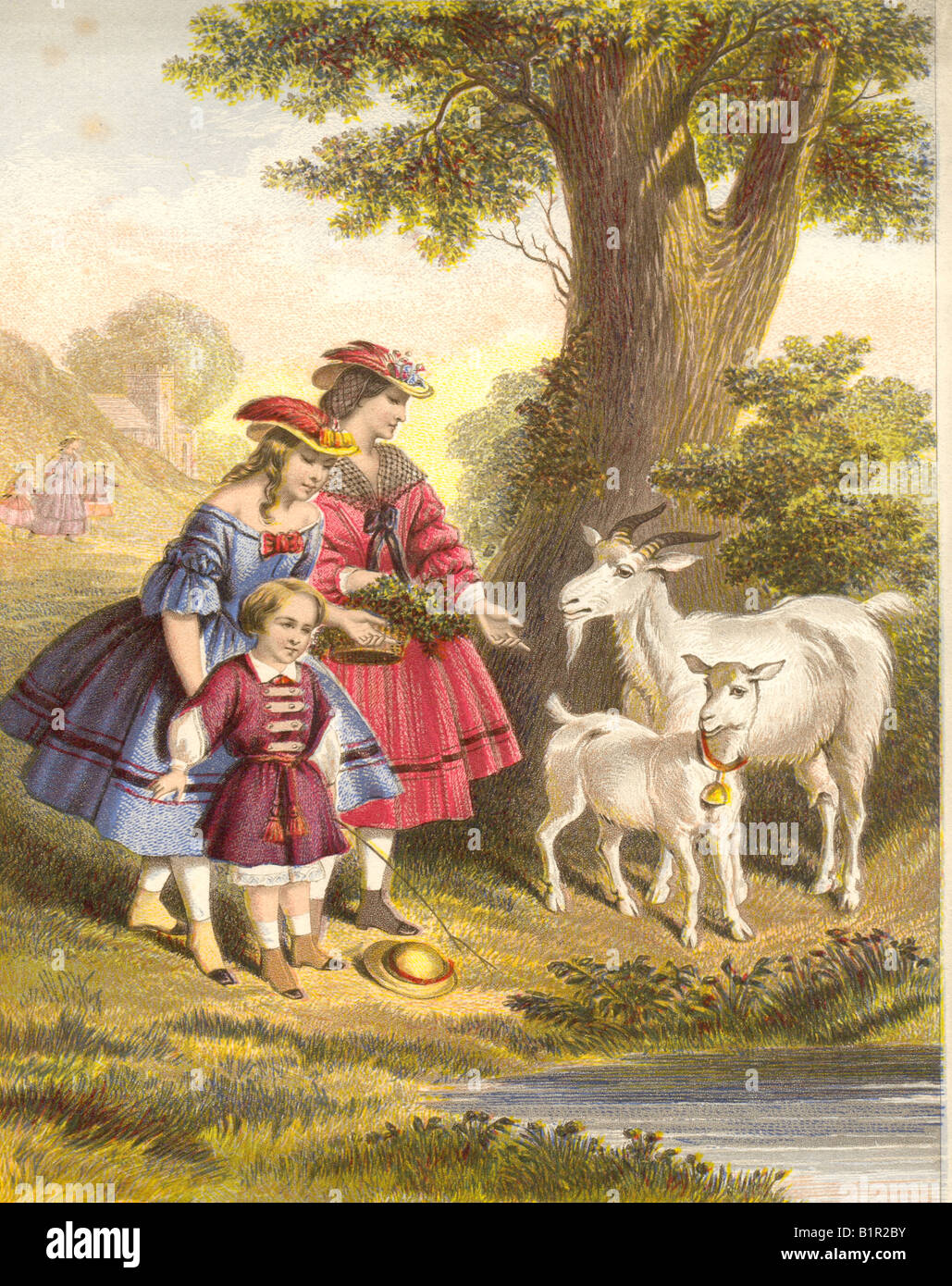 Chromolithographed Victorian print of country outing showing children talking to nanny goat and kid circa 1860 - Stock Image