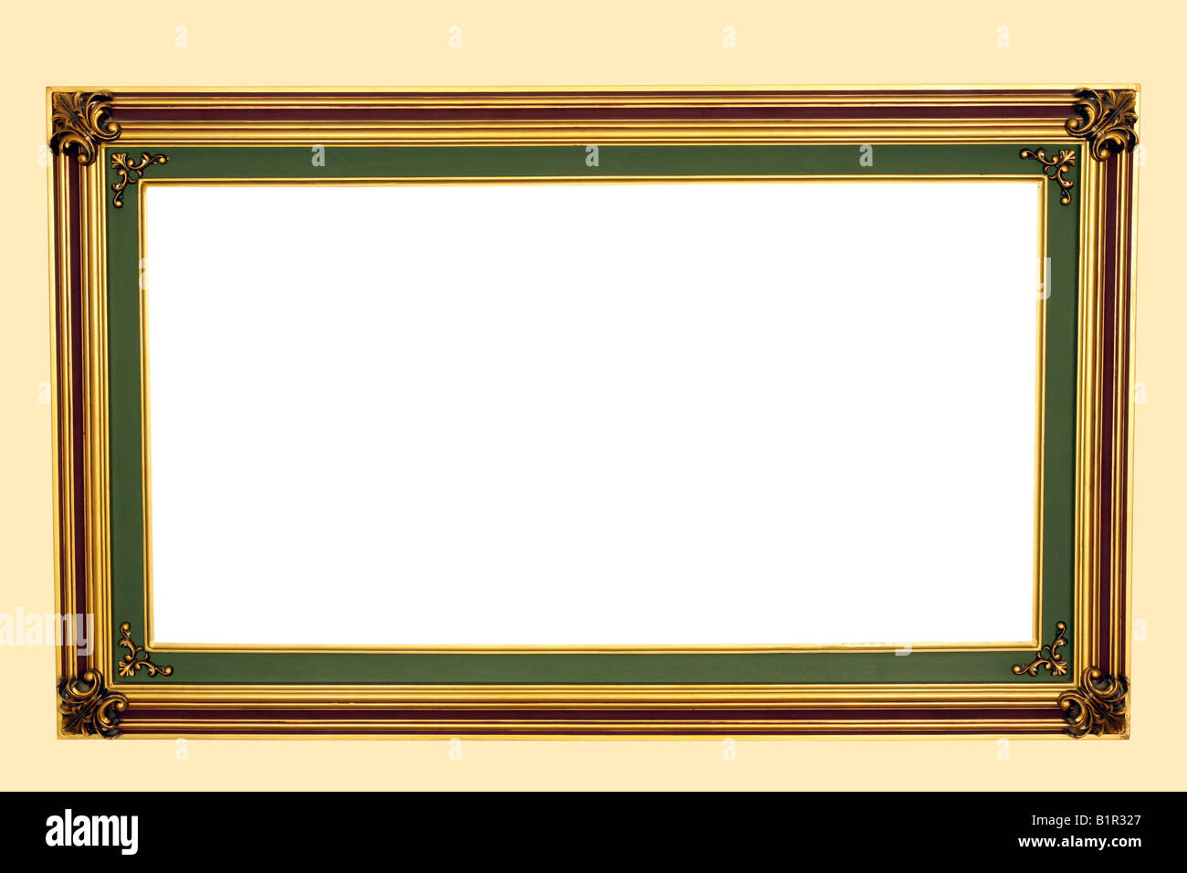 Empty vintage frame on wall - Stock Image