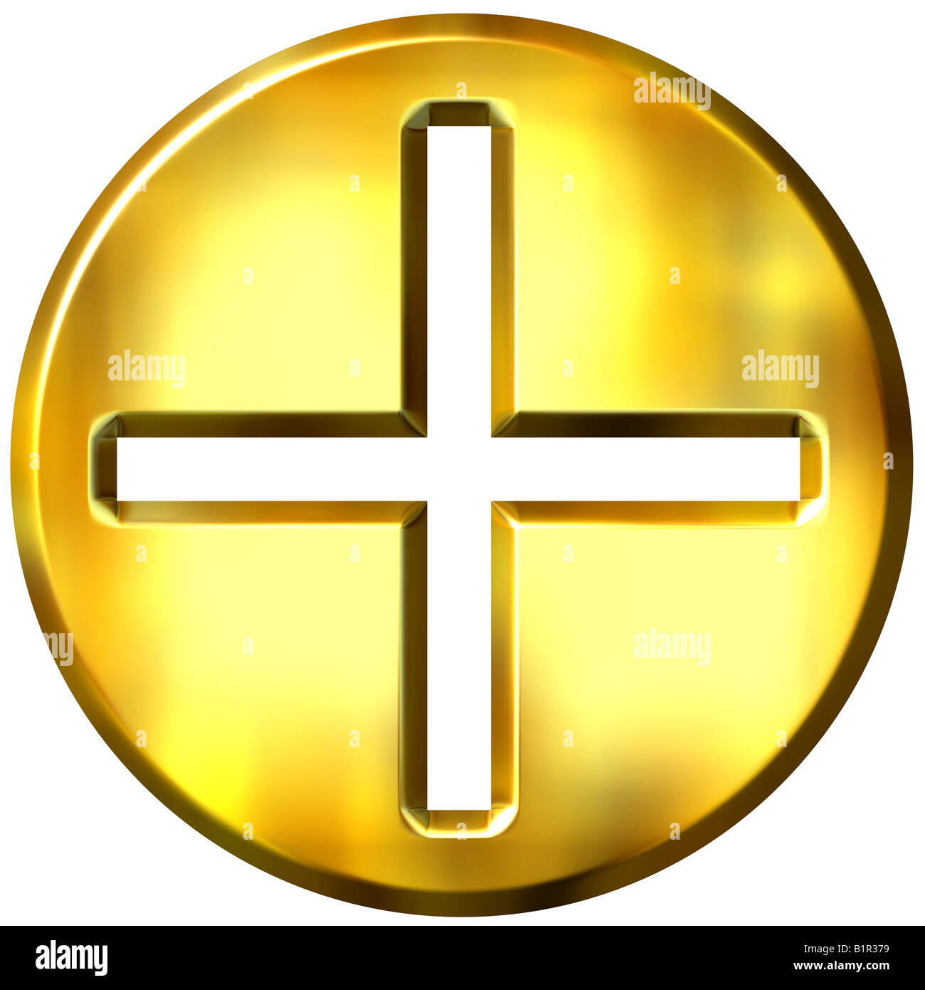 3d golden framed addition symbol - Stock Image