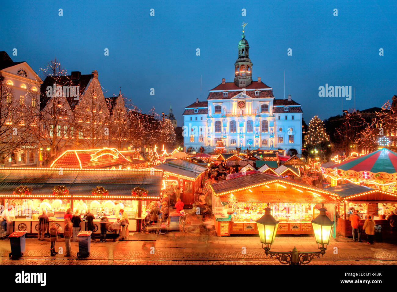 Christmas Market in front of the town hall of Lueneburg in Northern Germany Stock Photo
