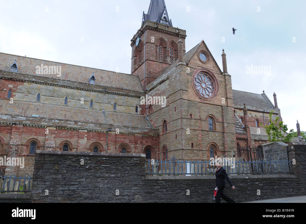 Parts of St. Magnus Cathedral in Kirkwall, the capital of Orkney, date from the 12th century. - Stock Image