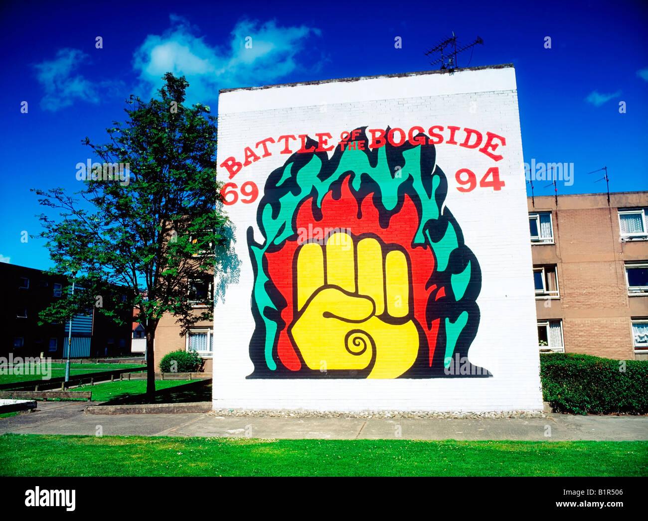 Commemorative Mural, Near Free Derry Corner, Derry City, Ireland - Stock Image