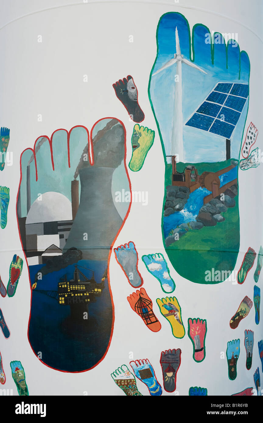 Carbon footprint paintings on a wind turbine at Findhorn Foundation, Moray, Scotland - Stock Image