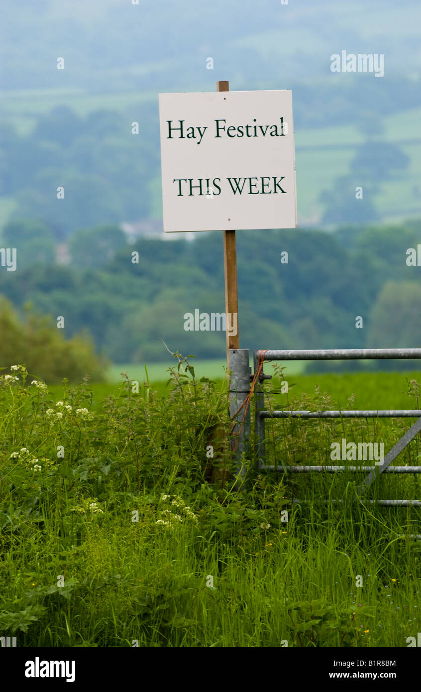 HAY FESTIVAL THIS WEEK sign in countryside at Hay Festival Hay on Wye Powys Wales UK EU - Stock Image