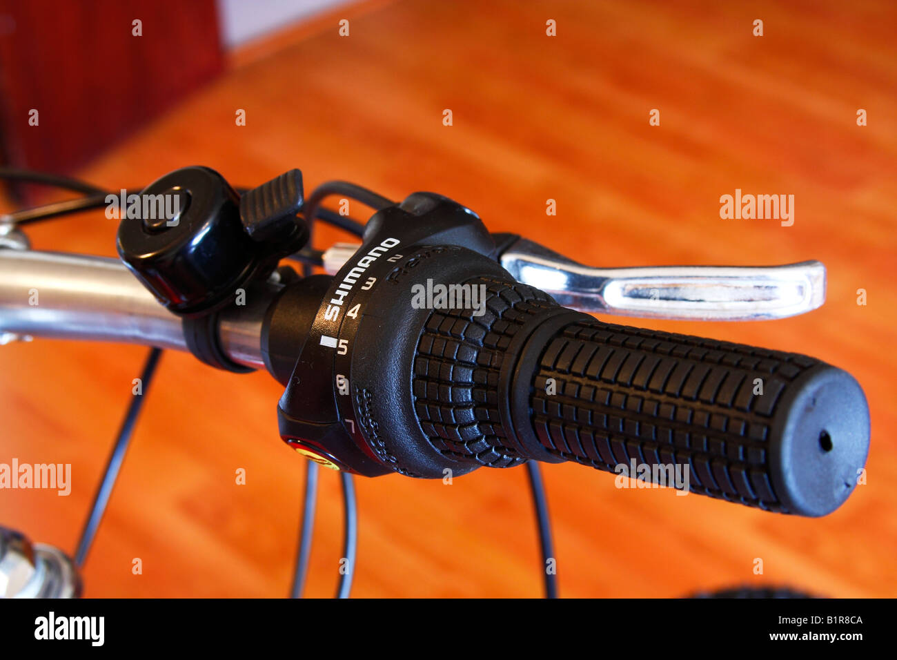 Shimano Geared Bicycle handlebar, close up - Stock Image