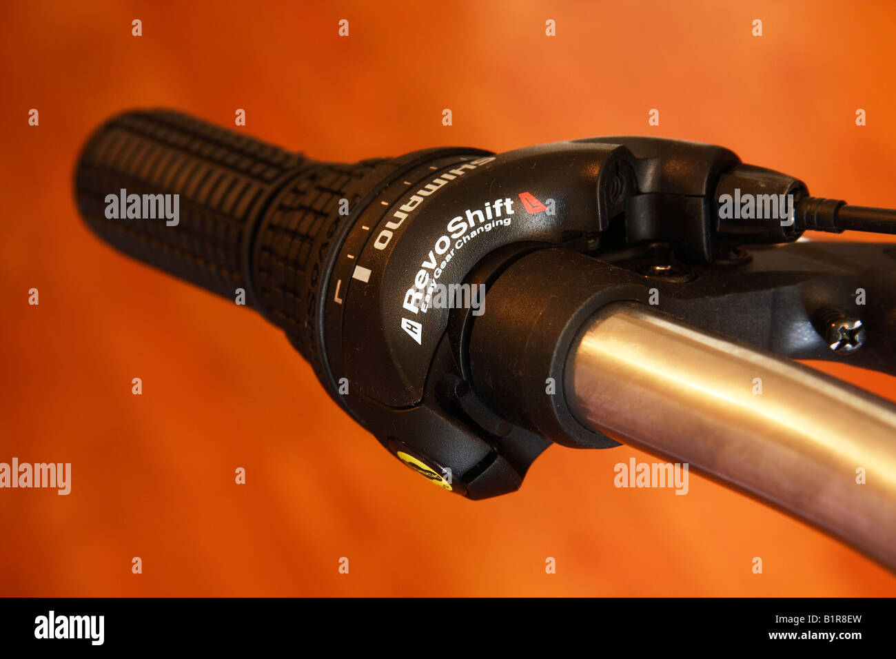 Shimano Geared Bicycle handlebar, close up - Stock Image