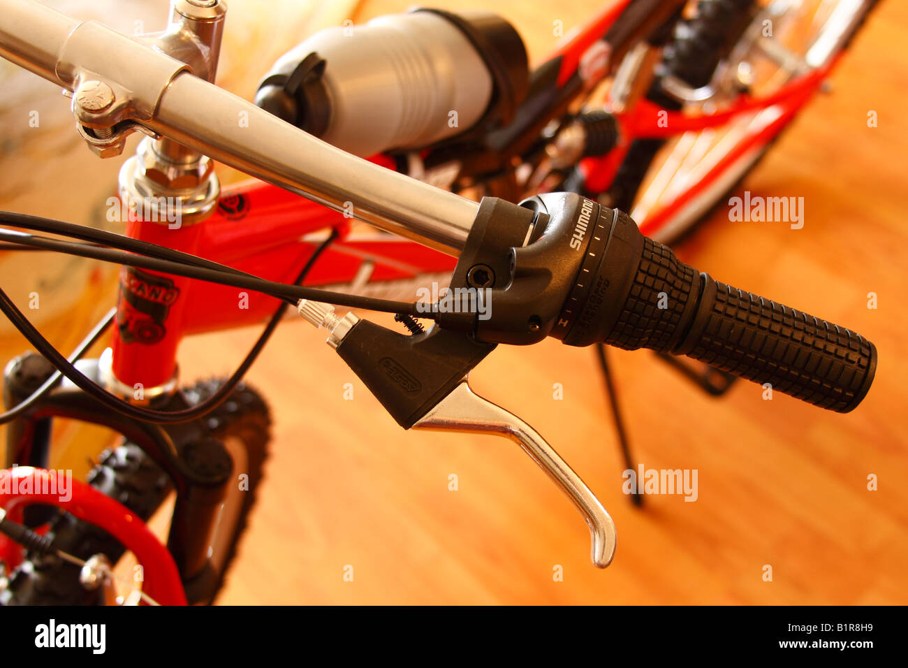 Shimano Geared Bicycle, close up - Stock Image