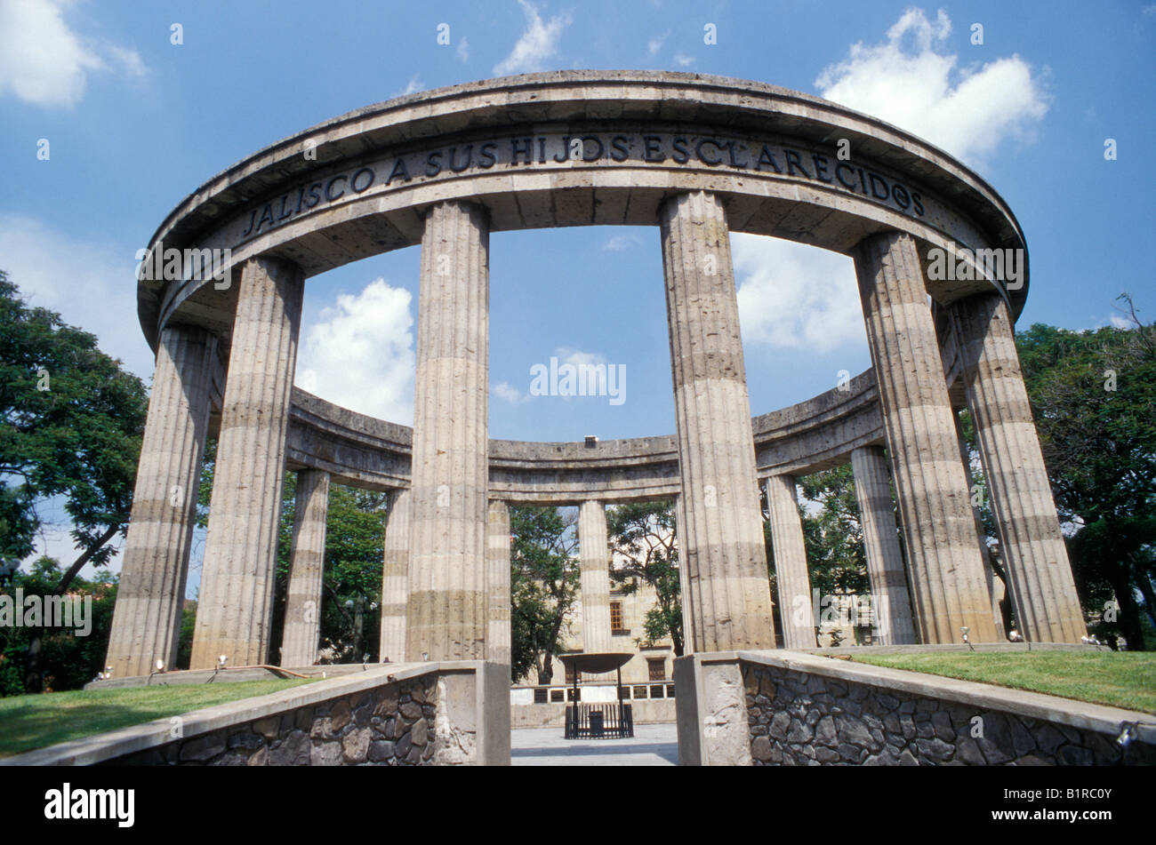 The Rotonda de los Hombres Jalicenses Ilustres or Rotunda of Illustrious Jaliscans monument, Guadalajara, Mexico - Stock Image
