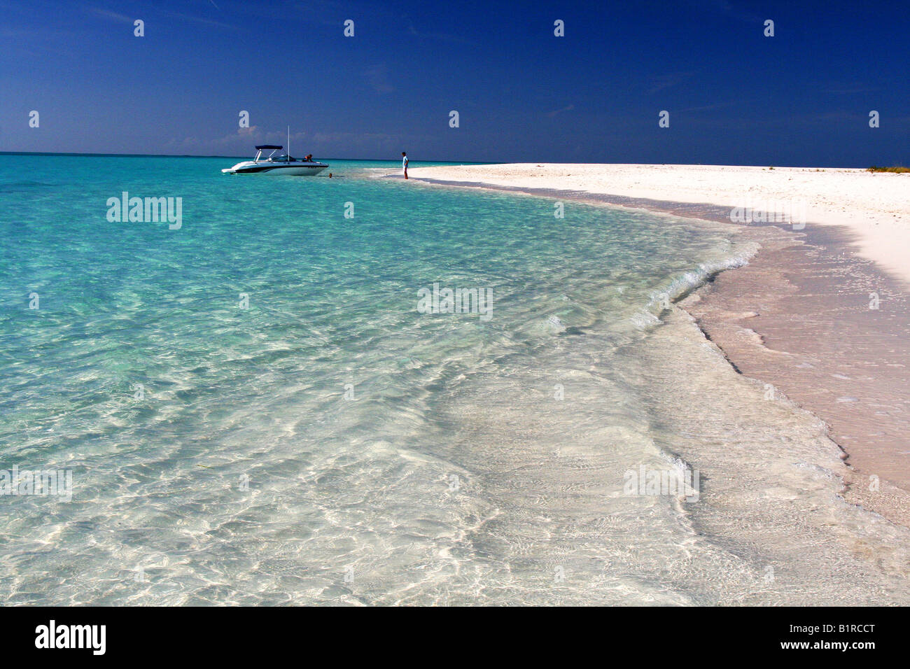 secluded beach in Turks and Caicos - Stock Image