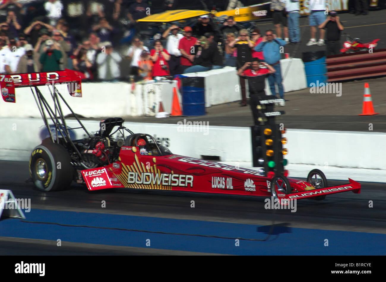 Brandon Bernstein's 'Budweiser' NHRA Top Fuel dragster - taking off from  the start line
