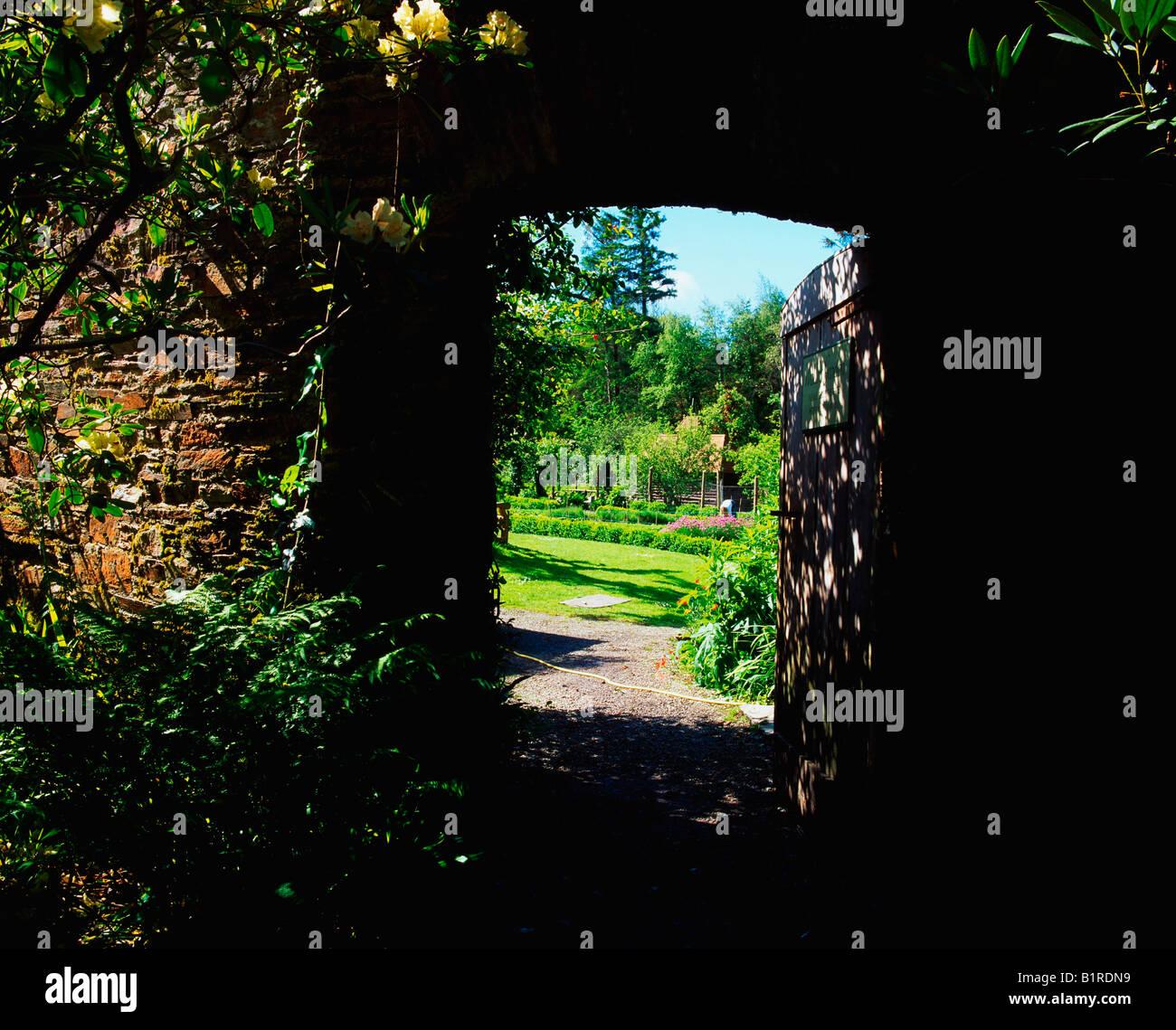 Creagh Baltimore Co Cork, Entrance to Walled Garden, Early Summer - Stock Image