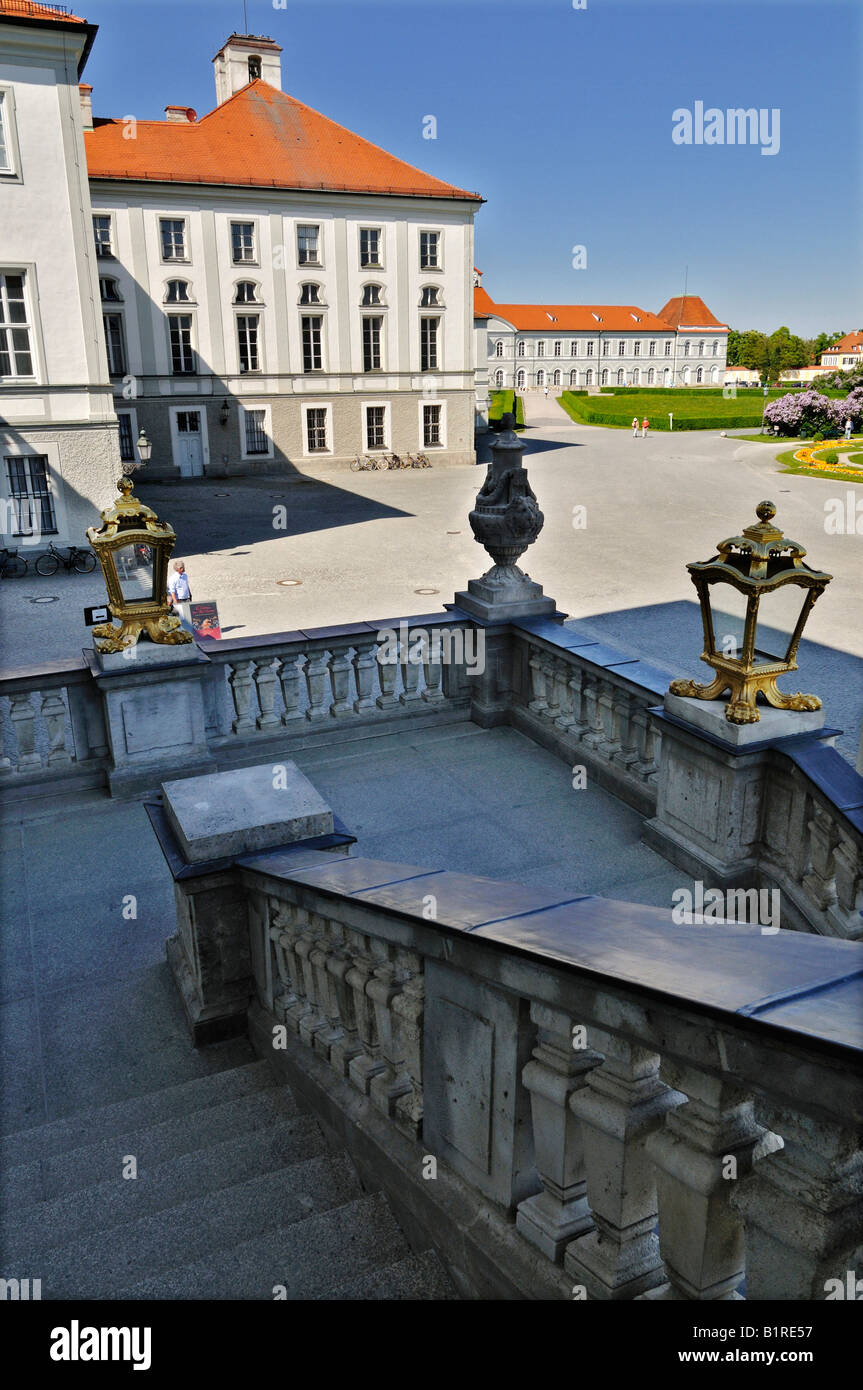 View from the stairs looking northeast to the park of Schloss Nymphenburg Palace, Munich, Bavaria, Germany, Europe - Stock Image