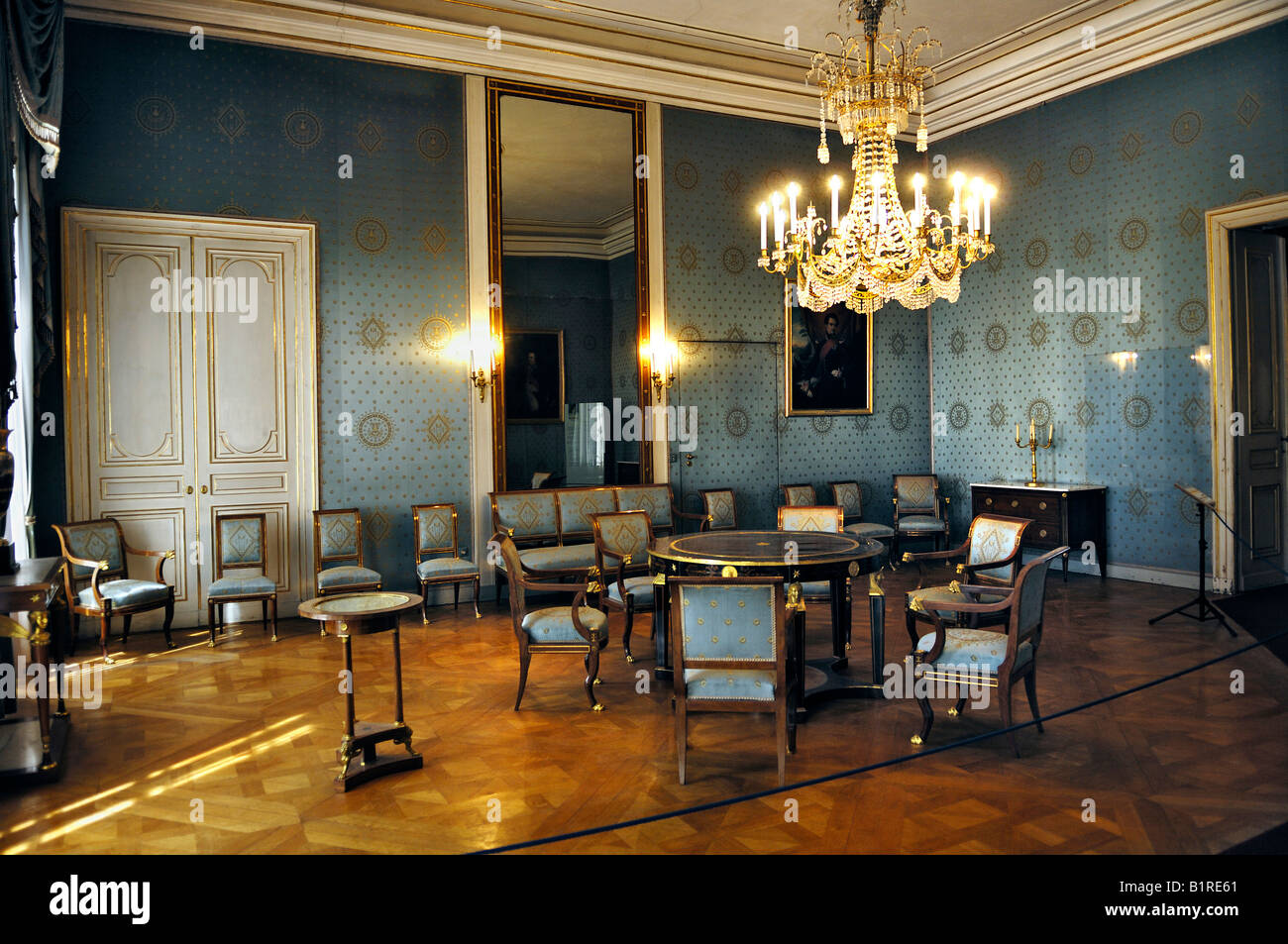 Blue Salon room built for Queen Caroline, Schloss Nymphenburg Palace ...