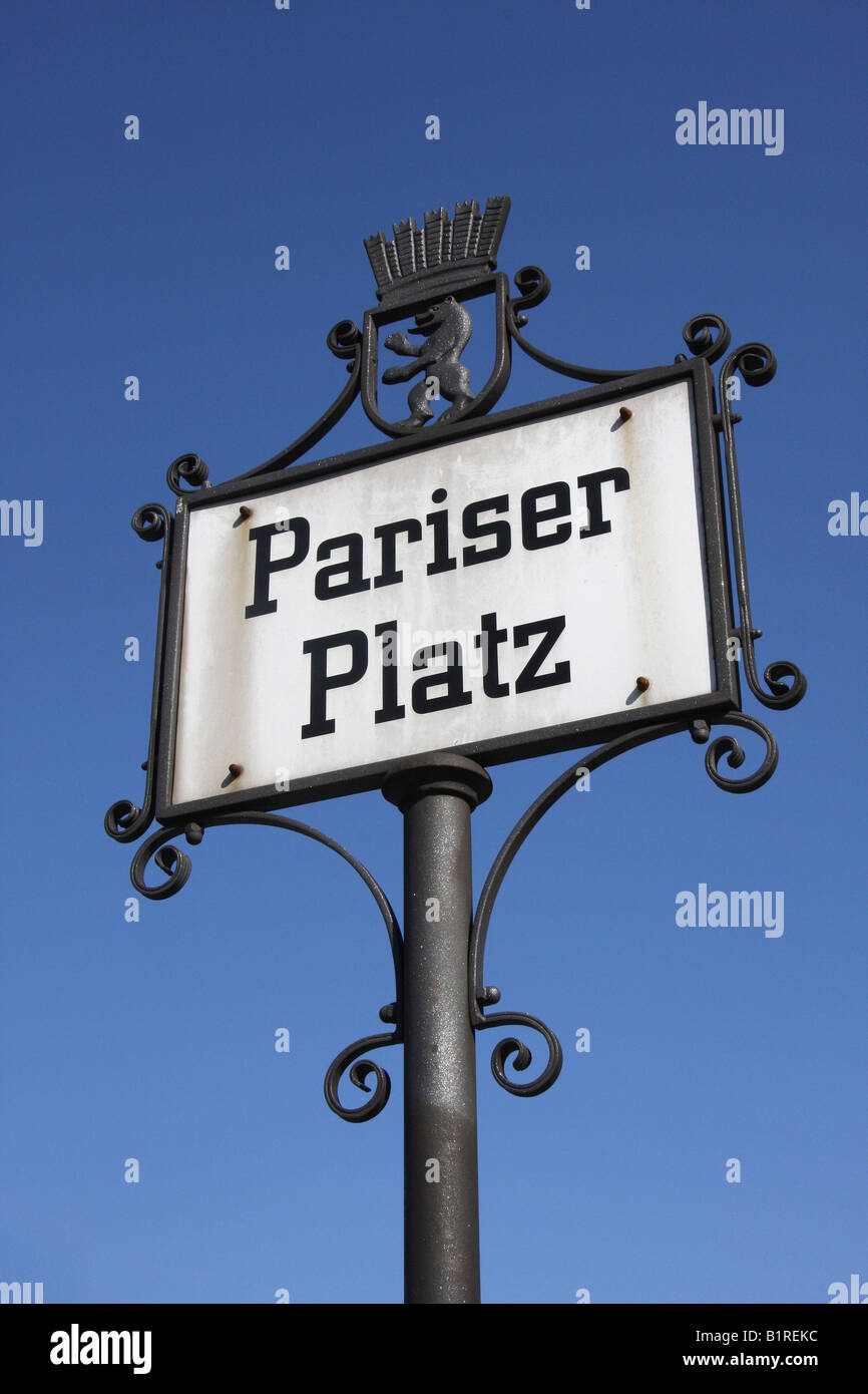 Street sign for Pariser Platz in Berlin, Germany, Europe - Stock Image
