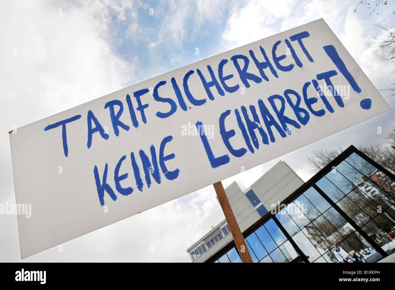Sign reading Tarifsicherheit keine Leiharbeit, collective pay commitment, not temporary employment, collective labour - Stock Image