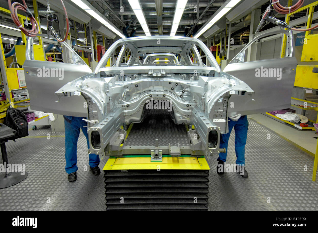 Car doors being polished, coachwork factory, production of the BMW 1 and 3 Series, BMW car plant in Regensburg, - Stock Image