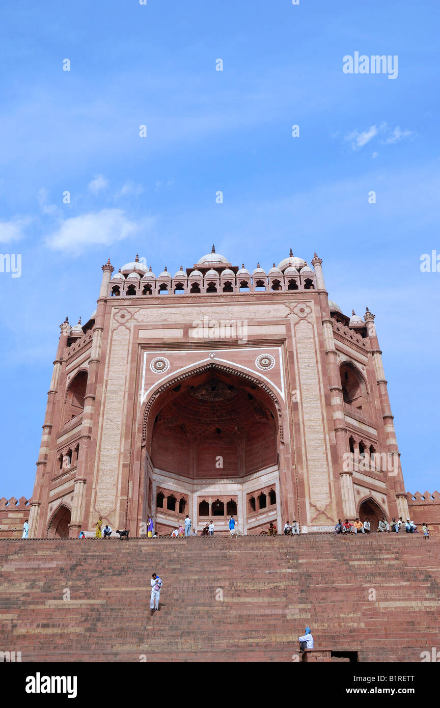 Buland Darwaza, Victory Gate, Masjid-i-Jahan Numa or Jami Masjid Mosque, Fatehpur Sikri, Uttar Pradesh, India - Stock Image