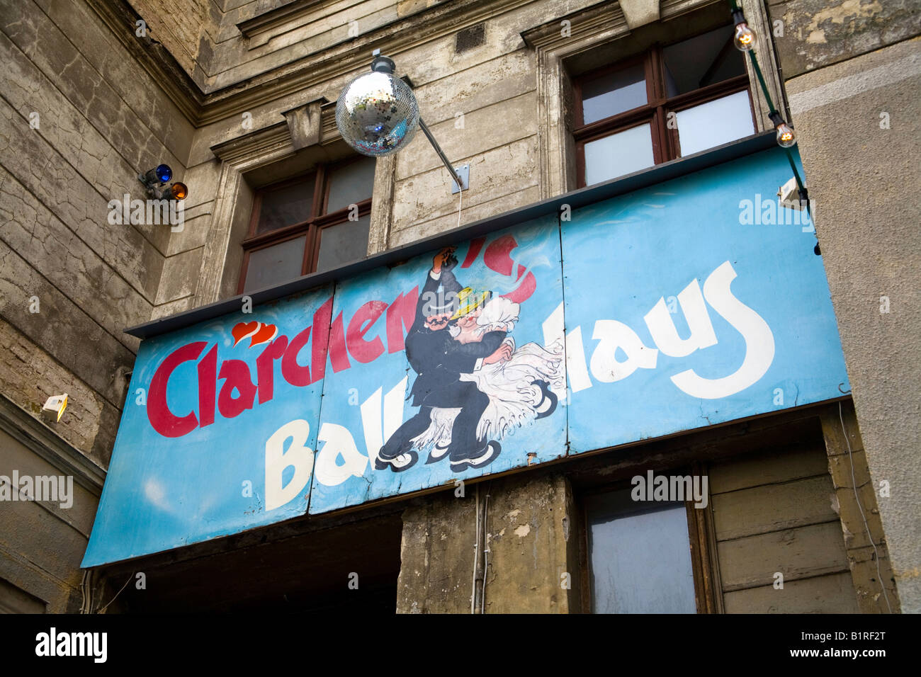Sign for Claerchen´s Ballhaus in August Road, Berlin-Mitte, Germany, Europe - Stock Image