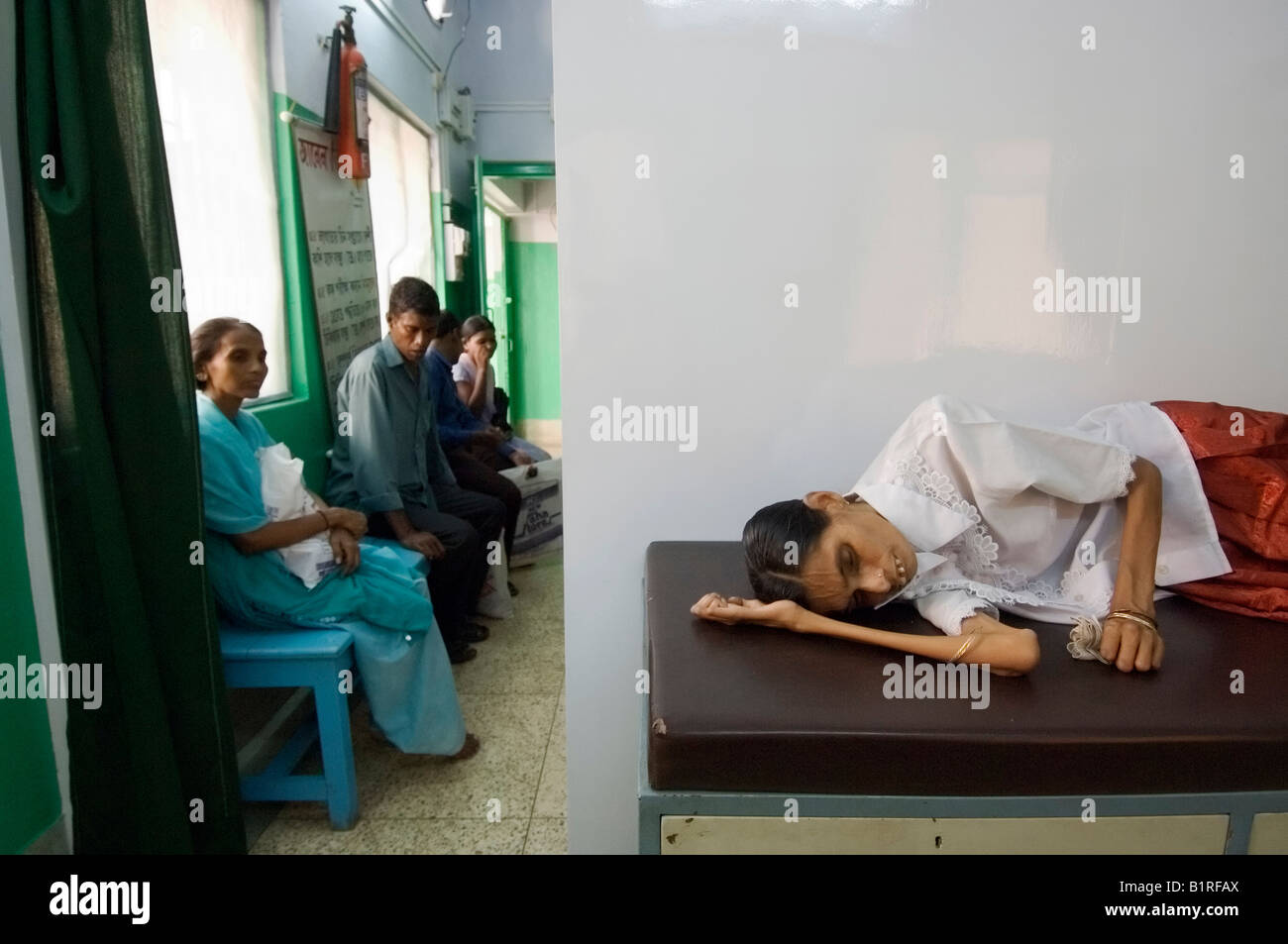Seriously ill tuberculosis patient in a TB clinic, Howrah, Hooghly, West Bengal, India Stock Photo