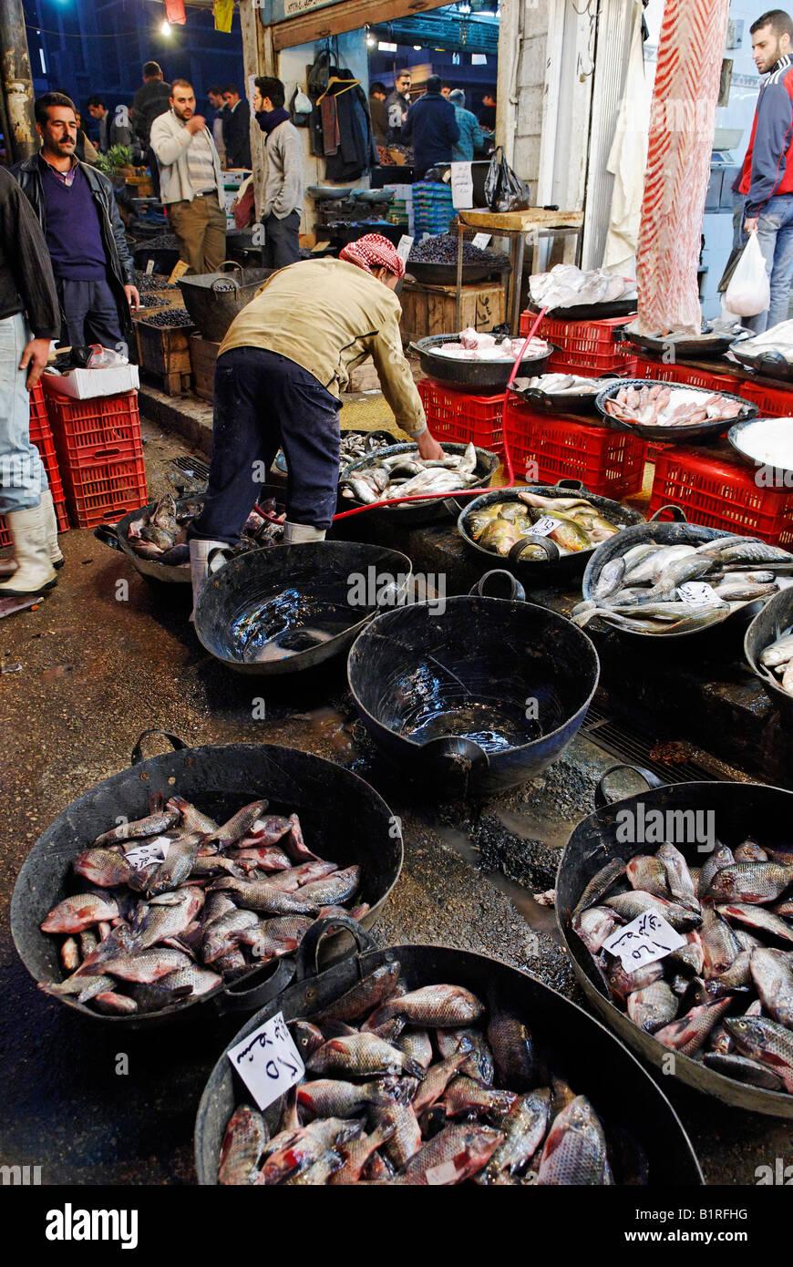 Fish market in the souk, Damaskus bazaar, UNESCO world heritage site, Syria, Arabia, Middle East - Stock Image