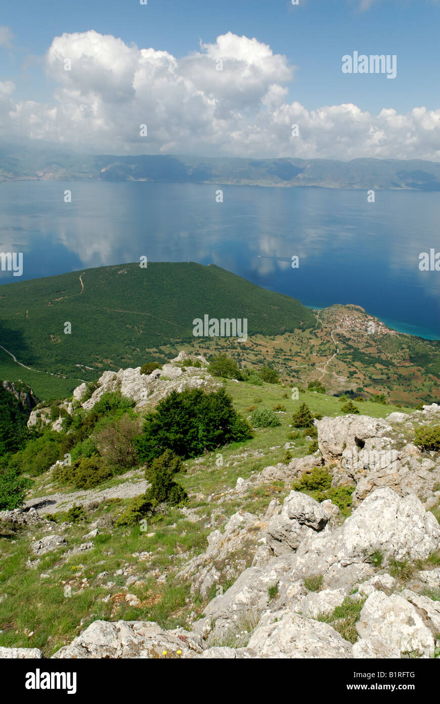 View from Galicica National Park to Lake Ohrid and the coast of Albania, UNESCO World Heritage Site, Macedonia, - Stock Image