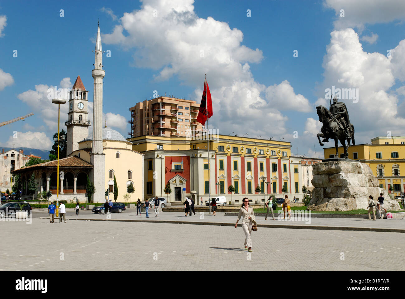 Skanderbeg Square in Tirana, Albania, Europe - Stock Image