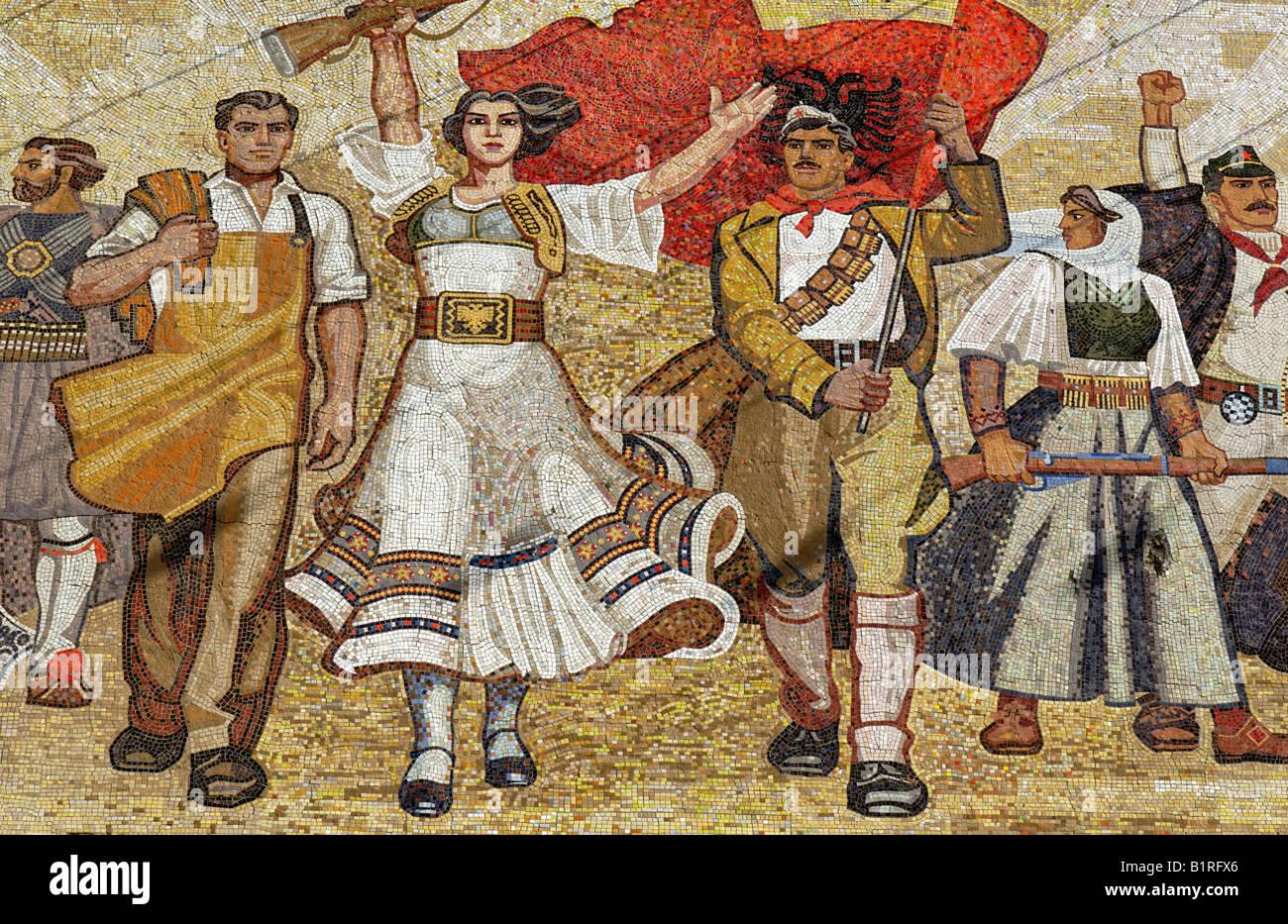 Socialist propaganda and hero mosaic on the National Museum, Skanderbeg Platz, Tirana, Albanien, Europa - Stock Image