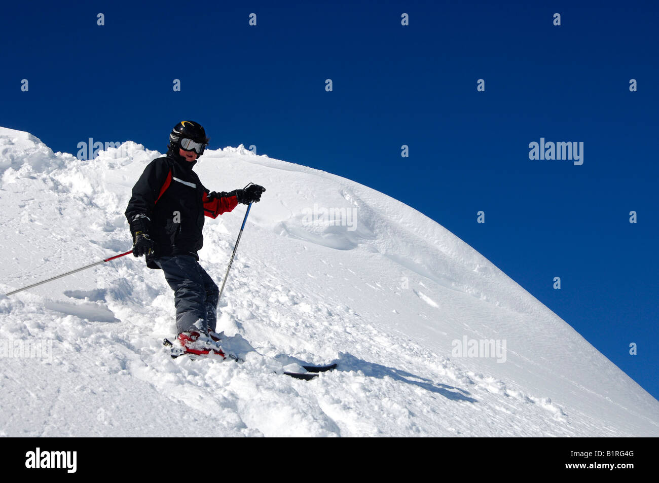 12-year-old boy skiing off-piste, Savoyen area, France, Europe - Stock Image