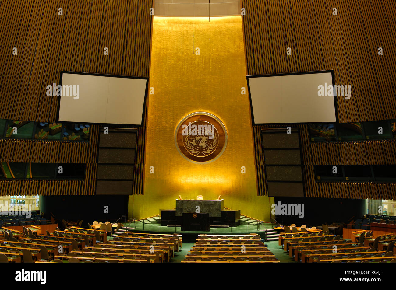 Plenary meeting or assembly room of the United Nations, UN, New York, USA - Stock Image