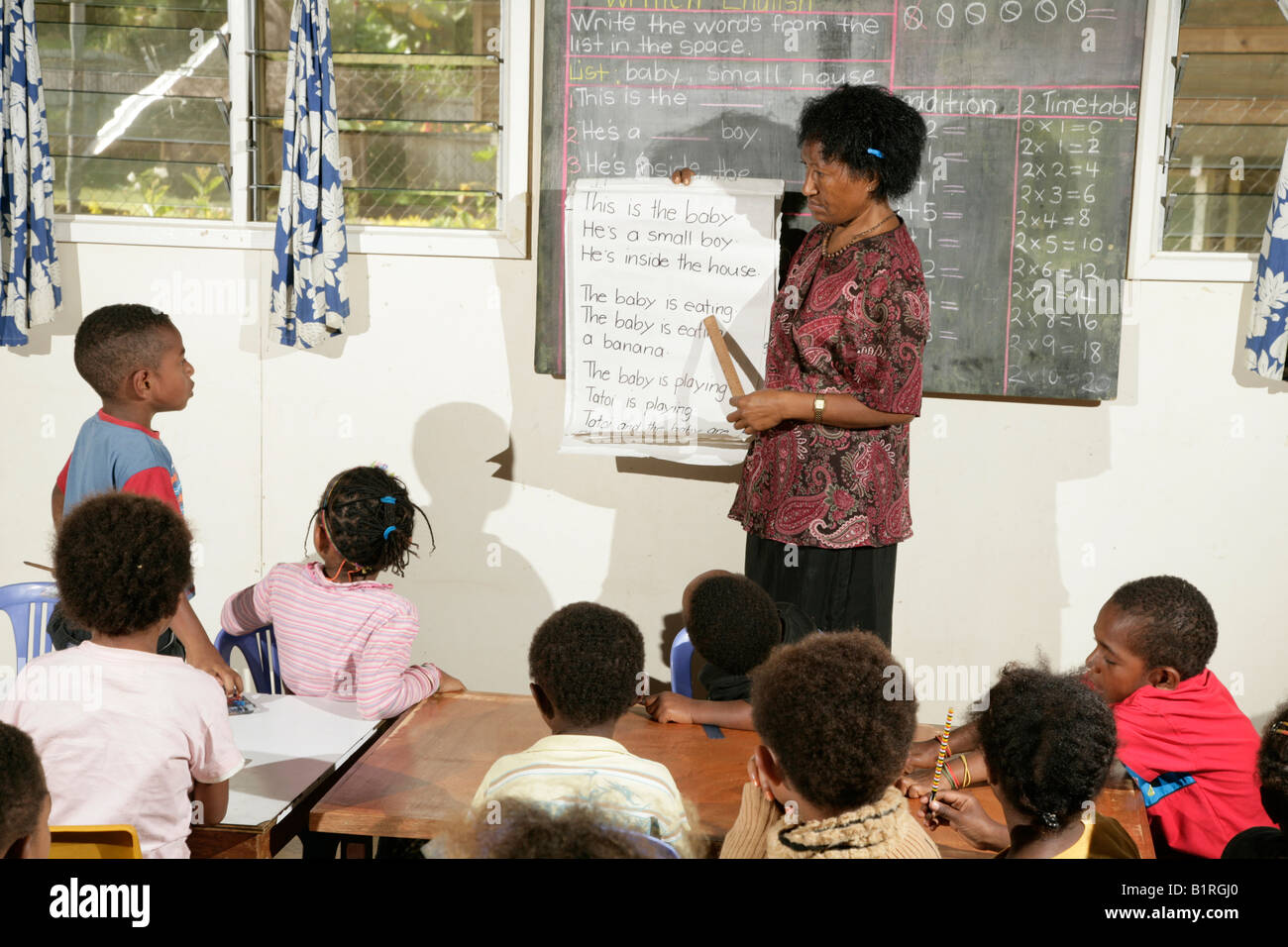 Children during class, elementary school, Goroka, Papua New Guinea, Melanesia Stock Photo