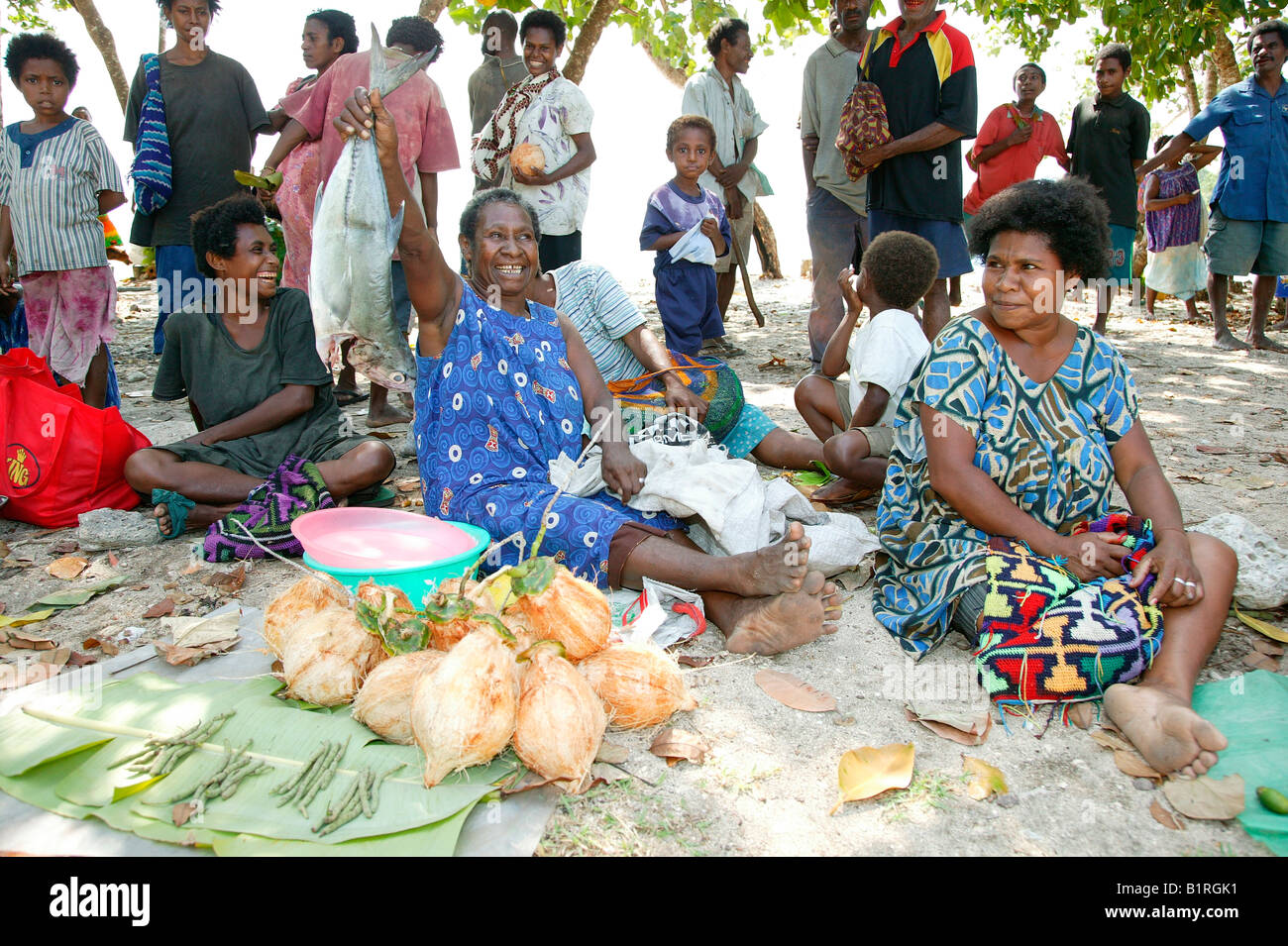Women selling vegetables and fish at a market, Heldsbach, Papua New Guinea, Melanesia Stock Photo