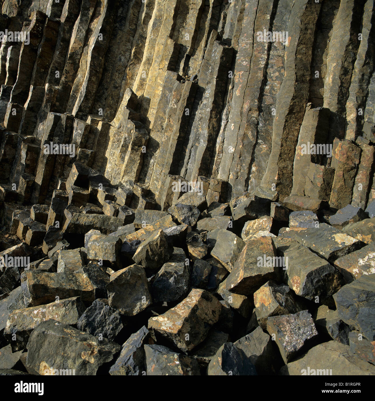 Basalt field, basalt columns at back - Stock Image
