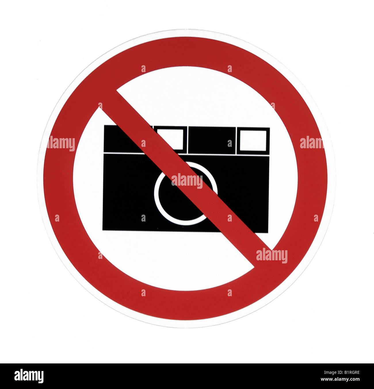 Sign, taking pictures not allowed, no cameras - Stock Image