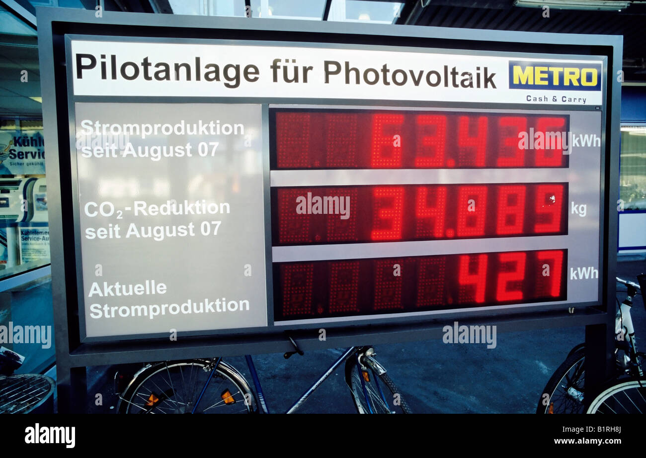 Pilot plant for photovoltaics, PV, digital scoreboard that creates electricity and reduces CO2 production, Metro - Stock Image