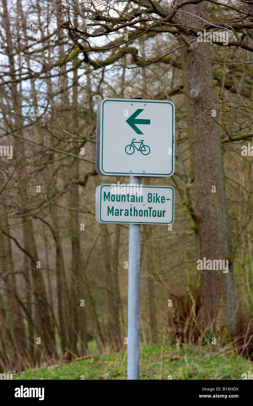 Mountain-Bike-Marathon-Tour sign in the Vogelsberg Mountains, Hesse, Germany, Europe - Stock Image