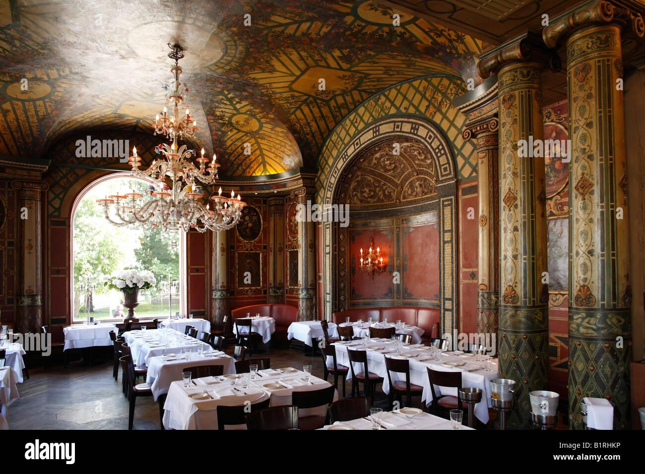 Restaurant in Kuenstlerhaus, Lenbach Square, Munich, Upper Bavaria, Germany, Europe - Stock Image