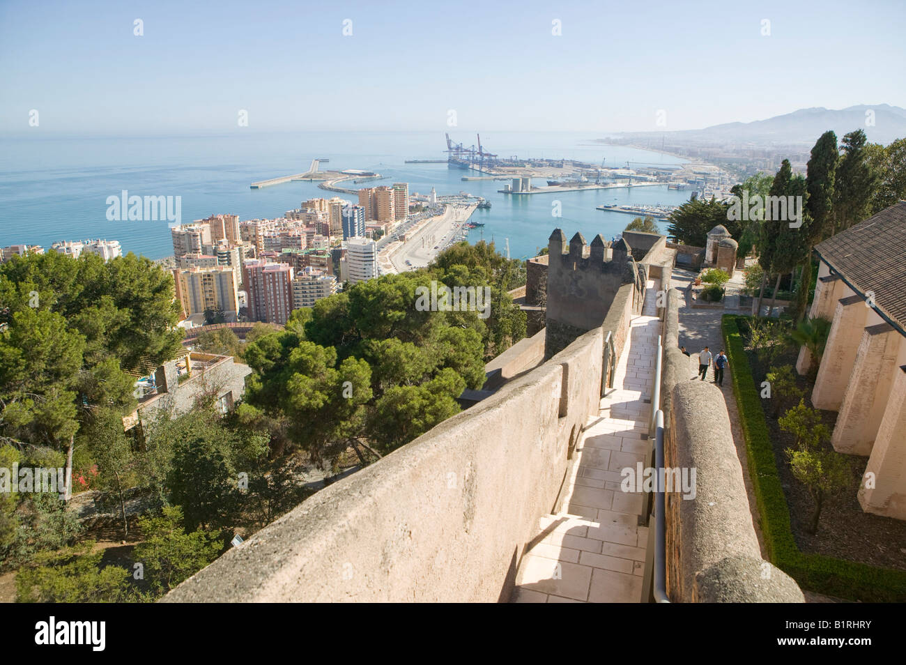 Spain, Malaga, Andalucia, Andalusia, Europe, castle, Fort, Fortification, Fortress, Islamic, Islamisch,  Architecture, - Stock Image