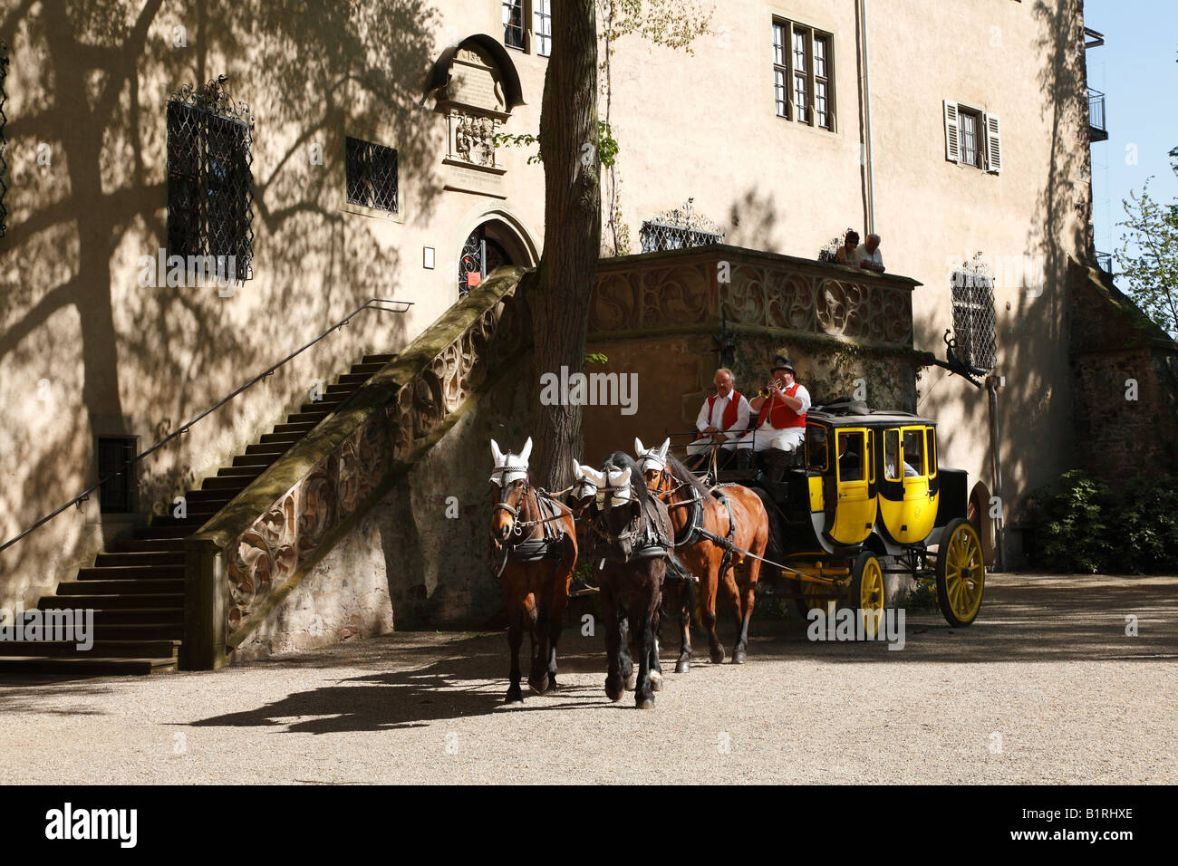 Postal carriage in front of Schloss Aschach Palace, Bad Bocklet, Rhoen Mountains, Lower Franconia, Bavaria, Germany, - Stock Image