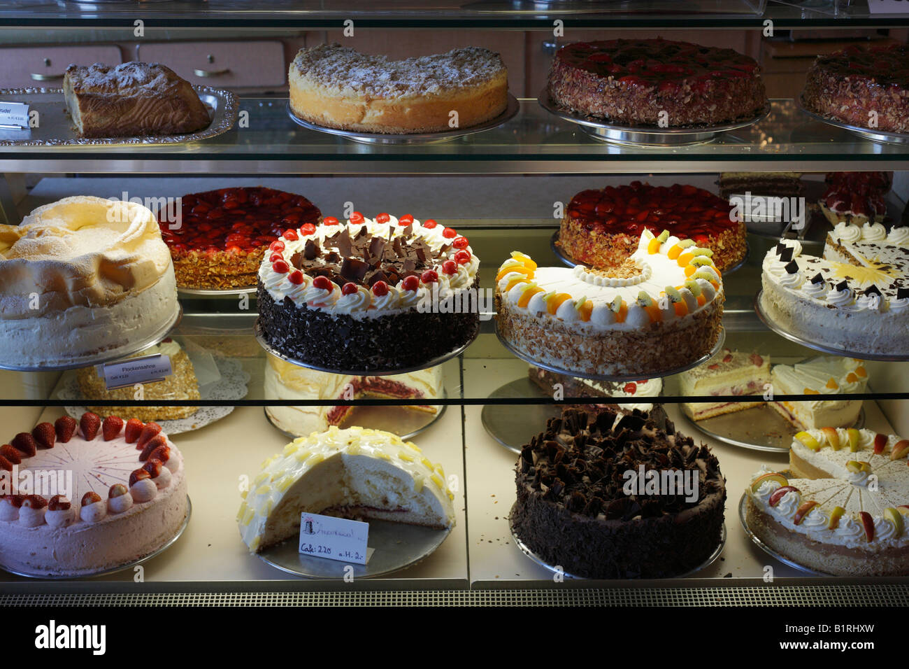 Cake display case, Café Laudensack, Bad Bocklet, Rhoen Mountains ...