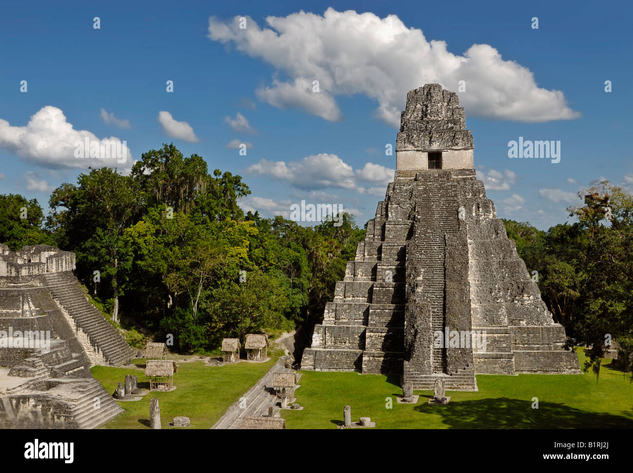 Maya ruins, Tikal, view of Temple I, Yucatan, Guatemala, Central America - Stock Image