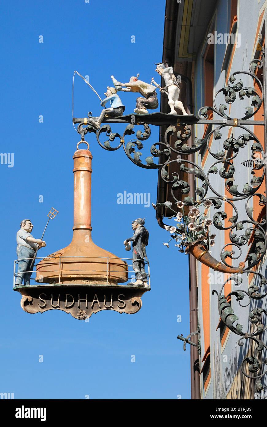 Sign for an inn, Villingen, Baden-Wuerttemberg, Germany, Europe - Stock Image