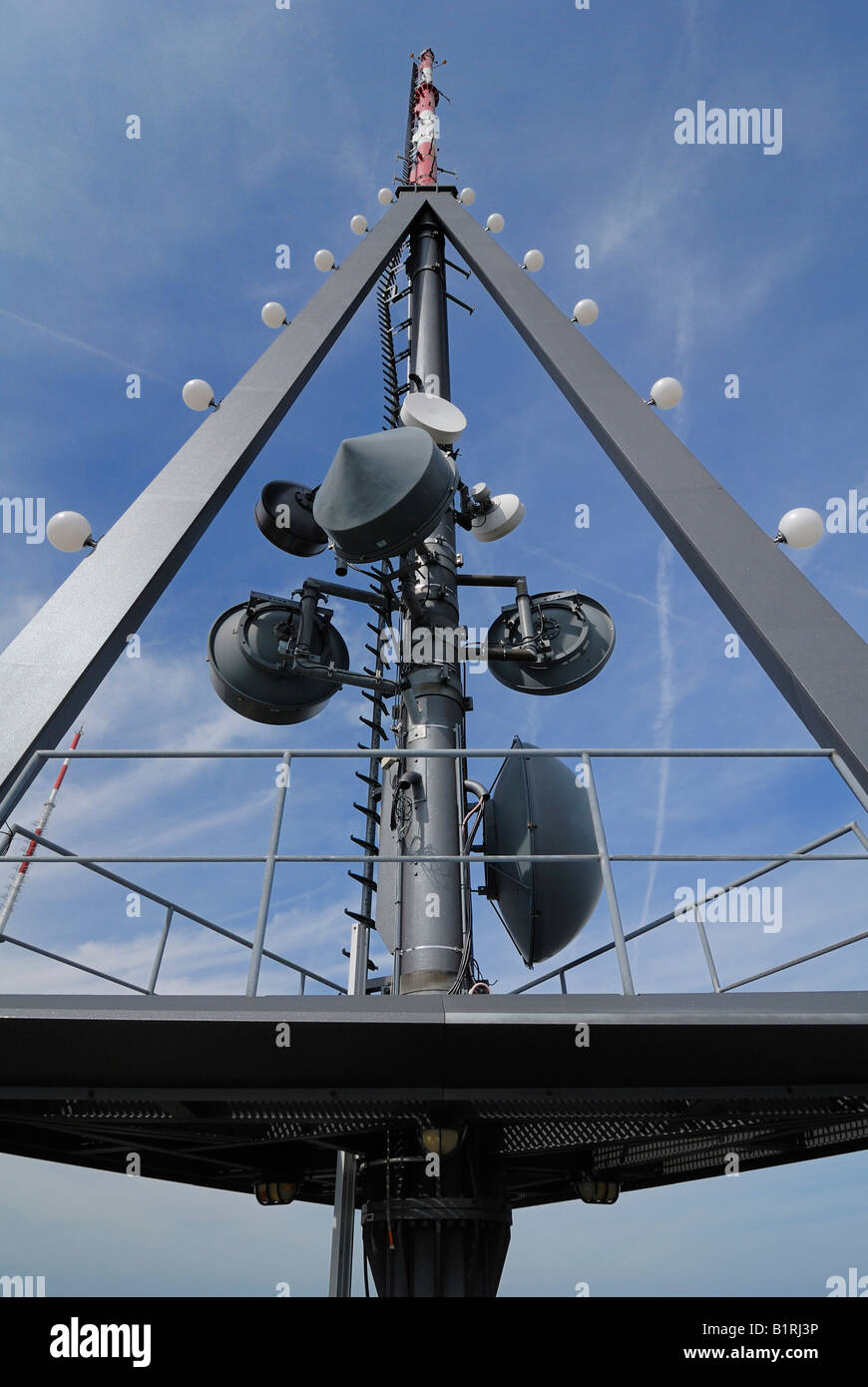 Transmitter mast on the Uetliberg Tower, Zuerich, Canton of Zuerich, Switzerland, Europe - Stock Image