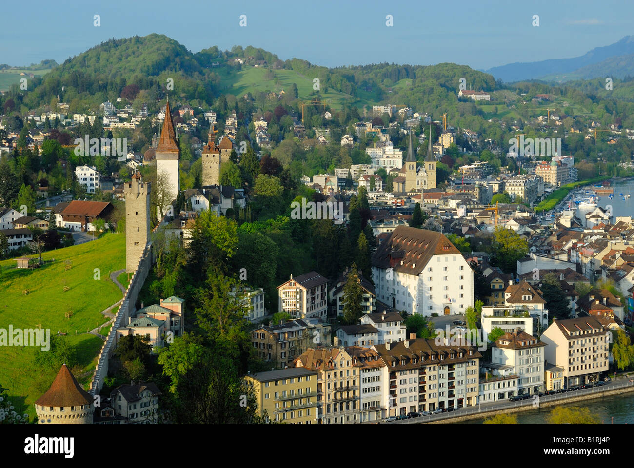 View of the historic centre with the historic Town Wall, Luzerne, Canton of Luzerne, Switzerland, Europe - Stock Image